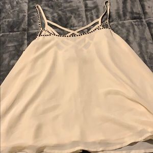Tan with black beads camisole shirt